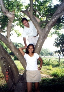 The other therapist took the photo after they placed me in the tree.  I hung on with my left side.