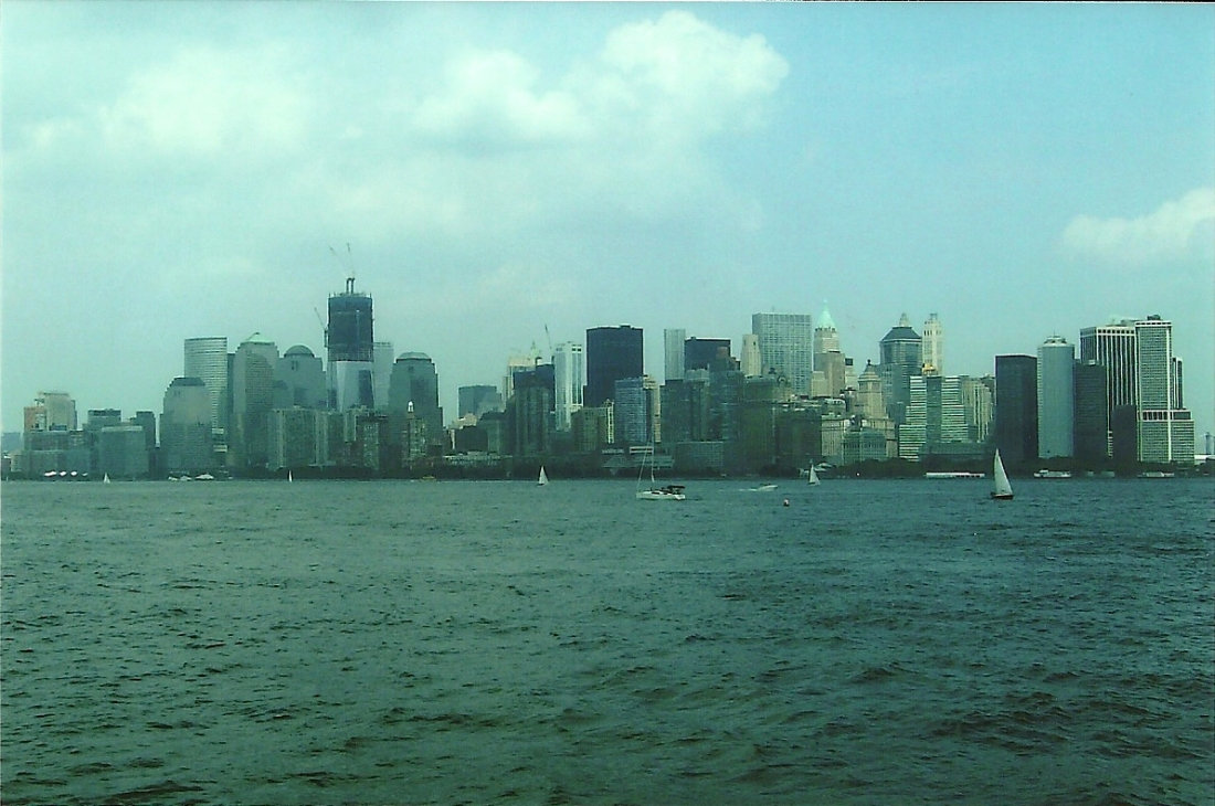 NYC view from, Statue of Liberty, ferry.