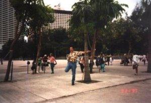 Practicing Tai Chi in Victoria Park, Hong Kong