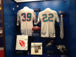 Jerseys of the Dolphin's two great running backs.