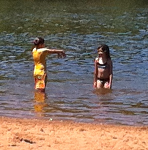 Friend Sophia and Steph at Carver Lake