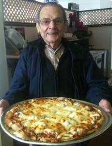 Dad's Pizza pie at his Romolo's restaurant, love you, Dad.